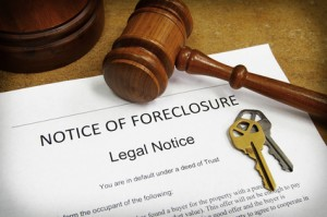 Gavel and notice of foreclosure