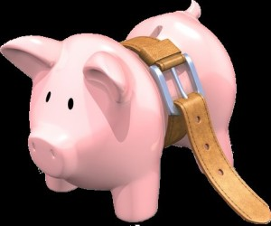 piggy bank with a belt