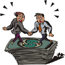 Men shaking hands on pile of money