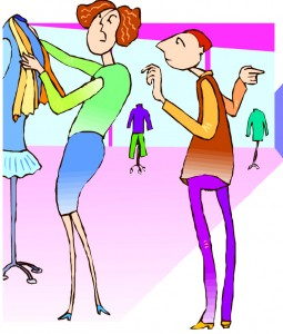 Women shopping in consignmen store
