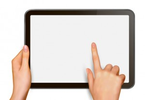 Man holding digital tablet and pointing at something