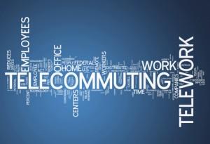 Word cloud of words telecommuting, work, office