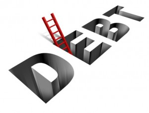 Climbing out of debt - ladder out of the word Debt