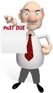Creditor holding a past due notice