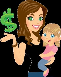 woman carrying a child with a dollar sign