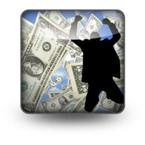 silhouette of a man jumping with money behind him