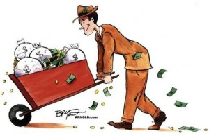 man with a wheelbarrow full of money