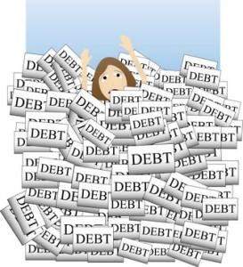 woman buried in debt