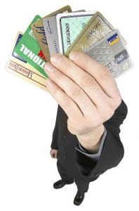 hand holding credit cards
