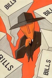 suspicious man amidst bills