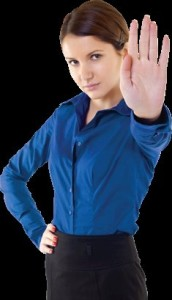 woman doing a stop hand sign