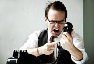 Man shouting at the phone