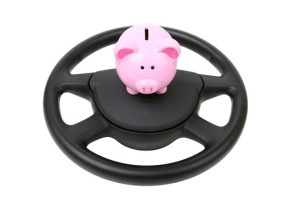 steering wheel with a piggy bank