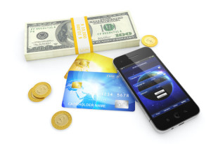 3D illustration of dollar bills, golden coins, credit cards, and smartphone with mobile banking application on screen