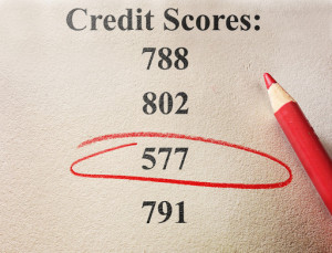 Red circle around a bad credit score