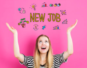 Women celebrating new job